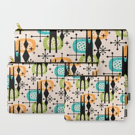 Retro Atomic Mid Century Pattern Orange Green and Turquoise Carry-All Pouch