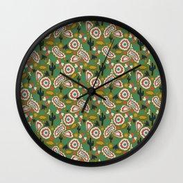 Armadillo Folk Print in Green Wall Clock