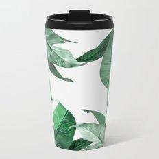Tropical Palm Print Metal Travel Mug
