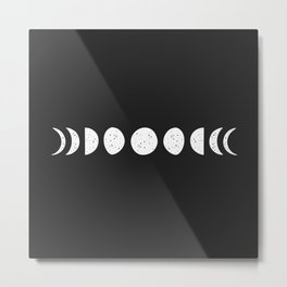 Single Moon Phases ( Black & White ) Metal Print