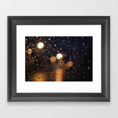 rain bokeh Framed Art Print