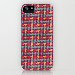 Happy Red Houndstooth Pattern iPhone Case