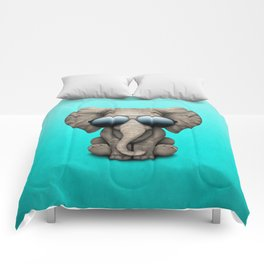 Cute Baby Elephant Wearing Sunglasses Comforters