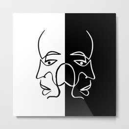 Minimal Line Twin Face Metal Print