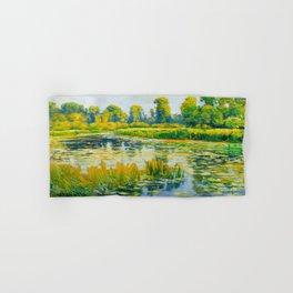 Václav Radimský (1867-1946) Water Lilies Impressionist Landscape Painting Bright Colors Oil Hand & Bath Towel