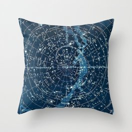 1900 Star Constellation Map - Chart Vintage Poster Throw Pillow