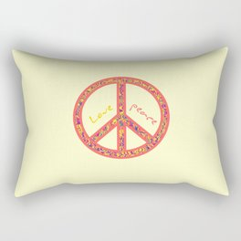 Peace and love, colorful and groovy hippie sign, 60's symbol of freedom Rectangular Pillow