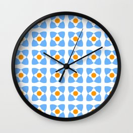 square and circle 11 orange and blue Wall Clock