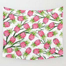 Summer tropical pink green watercolor pineapple floral Wall Tapestry