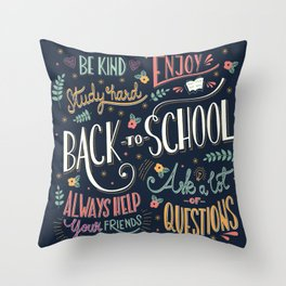 Back to school colorful typography drawing on blackboard with motivational messages, hand lettering Throw Pillow
