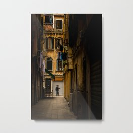 Typical alley of italy with balconies full of clothes drying in the wind. Metal Print