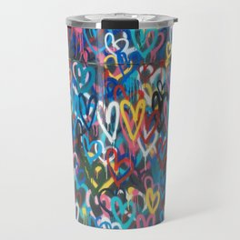 Love Hearts Abstract Graffiti Street Art Travel Mug
