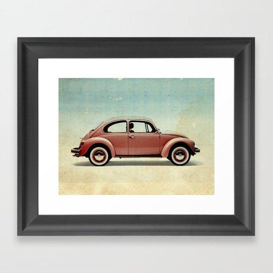 red vintage car Framed Art Print