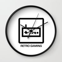 gaming Wall Clocks featuring retro gaming by parisian samurai studio