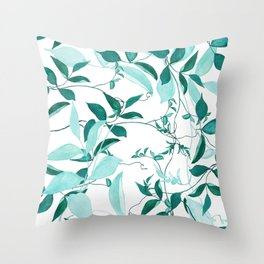 fresh green leaf pattern Throw Pillow