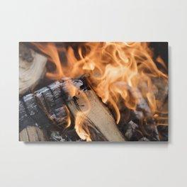 logs on the fire Metal Print