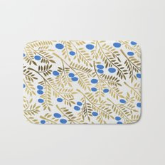 Olive Branches – Gold & Blue Bath Mat
