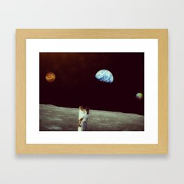 Venus-Pluto-Earth Conjunction observed from the Moon Framed Art Print