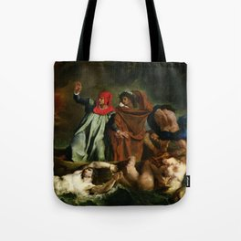 "Eugène Delacroix ""Dante and Virgil in Hell, also known as The Barque of Dante"" Tote Bag"