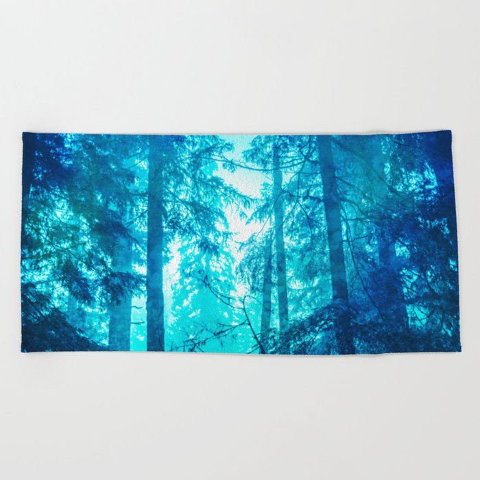 Blue Frost Woods Beach Towel