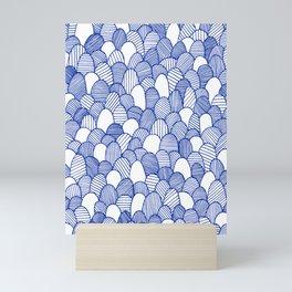 Striped Scallops - Blue Mini Art Print