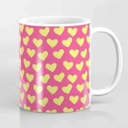 Pink and Yellow Hearts Repeated Pattern 084#001 Coffee Mug