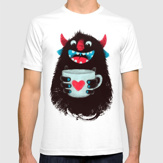 Demon with a cup of coffee (contrast) T-shirt