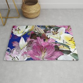PURPLE & WHITE ASIAN GARDEN LILIES DRAWING Rug