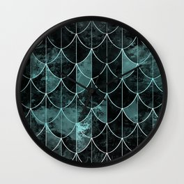 Mermaid scales. Mint and black. Wall Clock