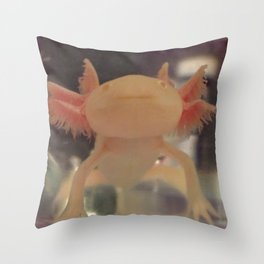 Albino Axolotl Throw Pillow