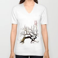 sakura V-neck T-shirts featuring Sakura by AmKiLi
