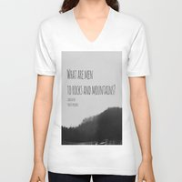jane austen V-neck T-shirts featuring Mountains Jane Austen by KimberosePhotography