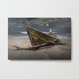 Gulls Flying over a Shipwrecked Wooden Boat Metal Print