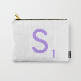 Purple S Scrabble Monogram Art Carry-All Pouch
