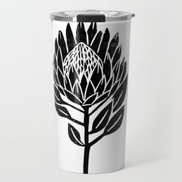 Linocut Protea floral black and white minimal flower spring Travel Mug