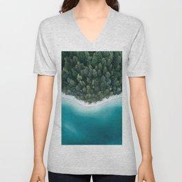 Green and Blue Symmetry - Landscape Photography Unisex V-Neck