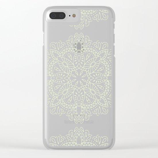 Mandala Vintage Ivory Blue Clear iPhone Case