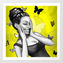Retro Pinup Girl Crazy With Laughter & Butterflies Art Print