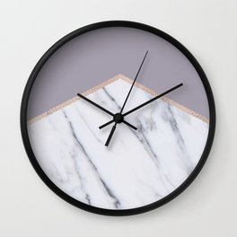 Smokey lilac - rose gold geometric marble Wall Clock