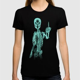 X-ray Bird / X-rayed skeleton demonstrating international hand gesture T-shirt