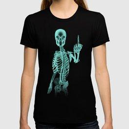 X-ray Bird / X-rayed skeleton demonstrating international hand gesture T-shirt