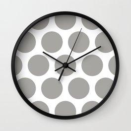Large Polka Dots: Grey Wall Clock