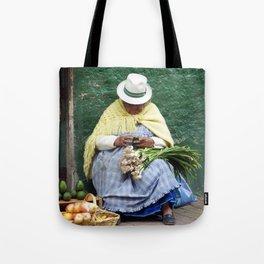Vegetable and Fruit vendor, Cuenca, Ecuador Tote Bag