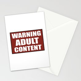 Warning adult content red sign Stationery Cards