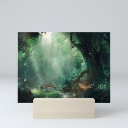 Gorgeous Gracious Deer Mother And Kid Grazing In Magical Forest Clearing Ultra HD Mini Art Print