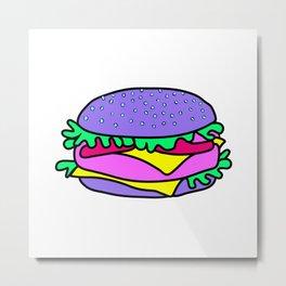 Psychedelic burger / Pink Grid Metal Print