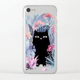 Popoki (Pastel Black Velvet) Clear iPhone Case