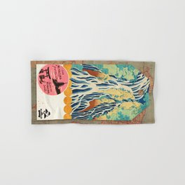 Label Fables, Japan I :: Fine Art Collage Hand & Bath Towel