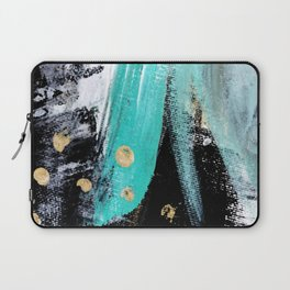 Fairy Dreams: an abstract mixed media piece in black, white, teal, and gold Laptop Sleeve