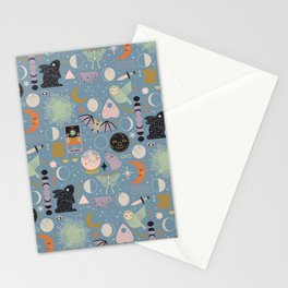 Lunar Pattern: Blue Moon Stationery Cards